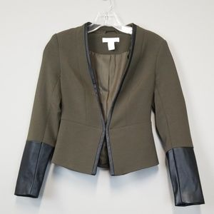 H&M olive green faux leather detail blazer